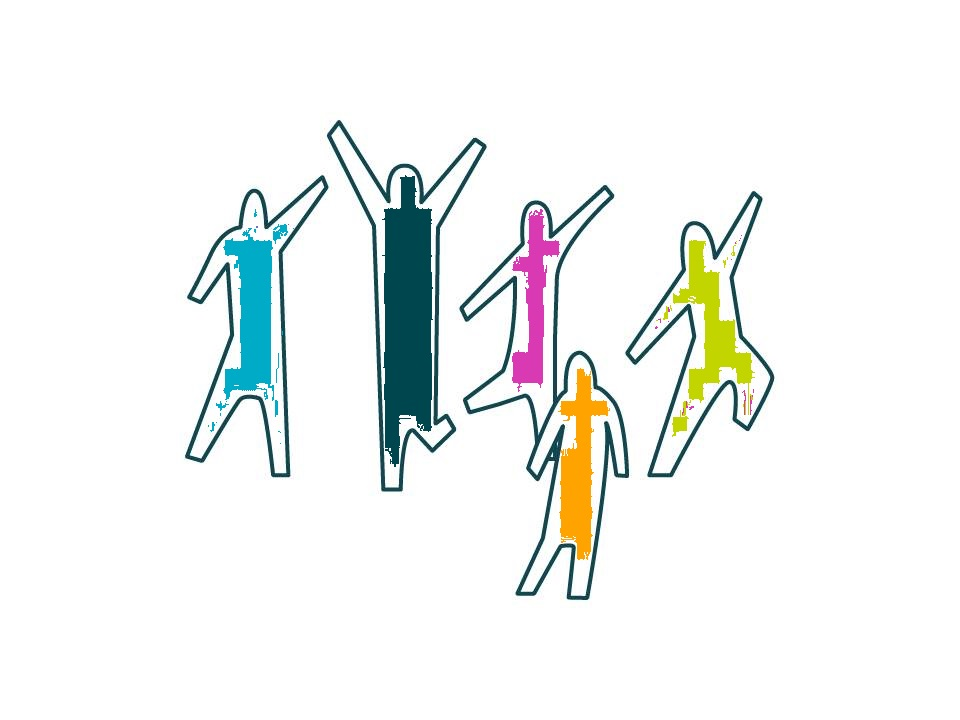 Illustration of five colourful people dancing
