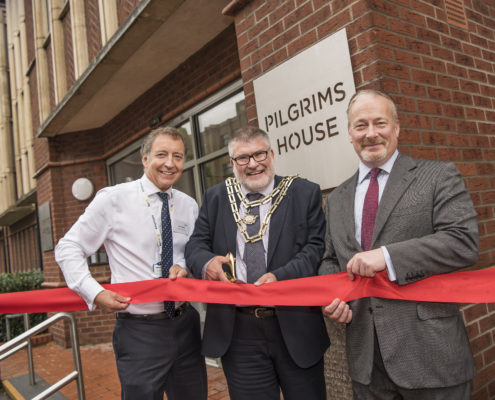 The Mayor of Bedford Borough Dave Hodgson officially opens Pilgrims House, alongside bpha Chief Executive Kevin Bolt and Bedford and Kempston MP Richard Fuller